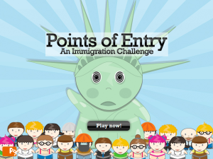 """A screenshot from """"Points of Entry,"""" a newsgame created by Dr. Ian Bogost for The New York Times in 2007. (Photo via Persuasive Games, used with permission from Dr. Bogost)"""