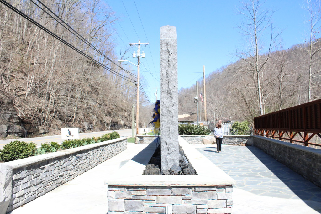 The UBB memorial sits in a slim gap between the mountains that run through Whitesville, W.Va.